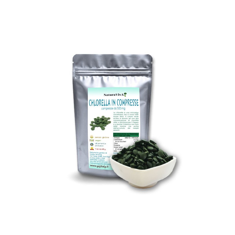 125 gr. ALGA CHLORELLA IN COMPRESSE BIOLOGICA - 500 mg