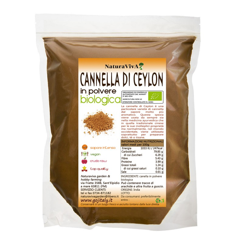 50 gr. CANNELLA DI CEYLON IN POLVERE BIOLOGICA